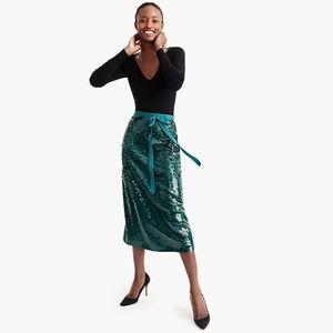 New JCREW Green Sequin Midi Skirt with Tie